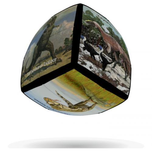 V-Cube 2x2 versenykocka, lekerekített, Dinoszaurusz