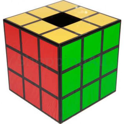 Rubik kocka mintás zsebkendőtartó doboz, 14,6 cm, fekete | Rubik kocka