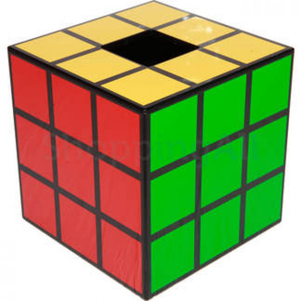 Rubik kocka mintás zsebkendőtartó doboz, 14,6 cm, fekete   Rubik kocka
